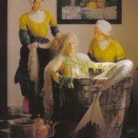 De meermin wordt gewassen; tableau in voormalig museum Artimare (Het Huis van de Meermin) van Bert Knispel in Edam, (bron: ongedateerde folder van Het Huis van de Meermin)