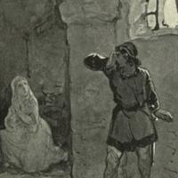 Fostedina en de gevangenbewaarder in de kerker na het vrijlaten van de gevangenen.<br /> Ill. H.J. Horn