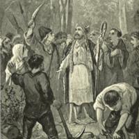Willebrordus belaagd door de Helgolanders.<br /> Ill. H.J. Horn