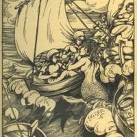 Melkmeisjes trekken de meermin van Edam aan boord (uit het Hollandsch Sagenboek van J.R.W. Sinninghe van 1943)