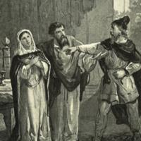 Adgil beschermt Fostedina na de aanklacht van de priester Takko.<br /> Ill. H.J. Horn